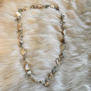 Jewelry - Mother of pearl and silver tone necklace 30""